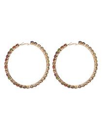 Fashion 7th Color Acrylic Large Circle Diamond Earrings