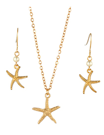Fashion Gold Natural Pearl Shell Starfish Set Chain
