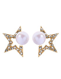 Fashion Gold S925 Silver Pin Star Pearl Stud Earrings