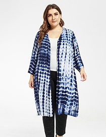 Fashion Blue Cotton Tie-dyed Cardigan