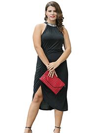 Fashion Black Asymmetrical Halter Dress