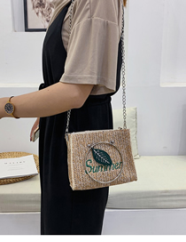Fashion Khaki Crossbody Straw Shoulder Bag