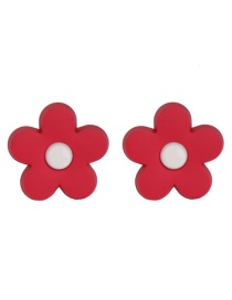 Fashion Red Soft Ceramic Flower Earrings