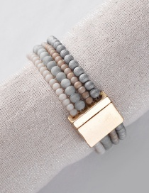Fashion Gray Alloy Magnet Natural Stone Beads Multilayer Elastic Line Bracelet