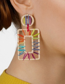 Fashion Color Square Section Dyed Raffia Woven Earrings