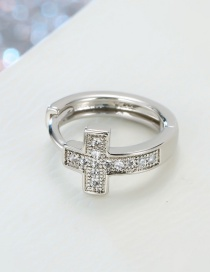 Fashion Silver Zircon Cross Open Ring