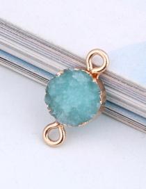Fashion Lake Blue Round Resin Double Hanging Earrings Bracelet
