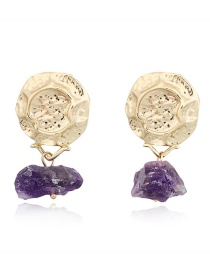 Fashion Purple Irregular Imitation Natural Stone Earrings