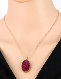 Fashion Purple Imitation Natural Stone Oval Resin Necklace