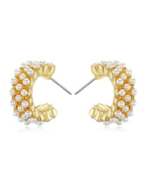 Fashion Golden Trumpet Open Round Pearl Earrings