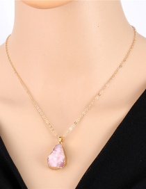 Fashion Pink Geometrical Imitation Natural Stone Resin Necklace