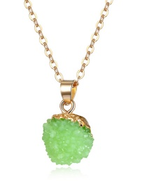 Fashion Grass Green Imitation Natural Stone Arbutus Ball Resin Necklace