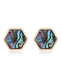 Fashion Colored Hexagon Imitation Natural Stone Earrings