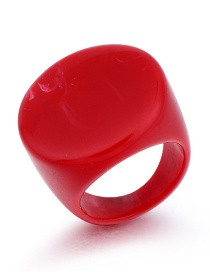 Fashion Red Imitation Natural Stone Leopard Oval Ring