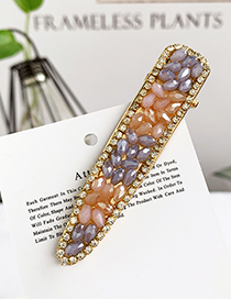 Fashion Purple + Champagne Alloy Resin Beads Duckbill Hairpin