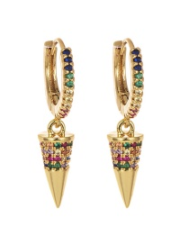 Fashion Gold Copper Inlaid Zircon Geometric Earrings
