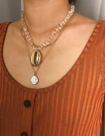 Fashion Gold Natural Stone Alloy Shell Multi-layer Necklace