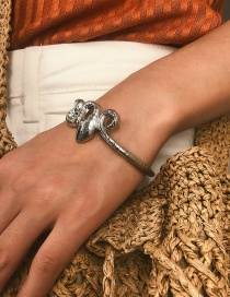 Fashion White K Three-dimensional Serpentine Open Bracelet