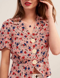 Fashion Red Floral Printed Suit Collar Single-breasted Shirt