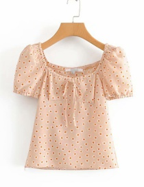 Fashion Pink Daisy Printed Lace-up Short-sleeved Shirt