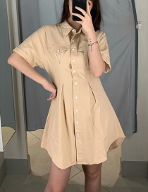 Fashion Light Khaki Button Lapels Denim Dress