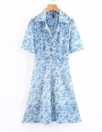 Fashion Blue Suit Collar Flower Print Dress