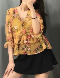 Fashion Yellow Flower Print V-neck Single-breasted Shirt
