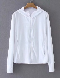 Fashion White Hooded Top With Hood