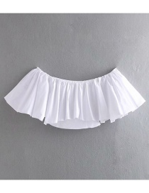 Fashion White Off-the-shoulder Collar Ruffled Shirt