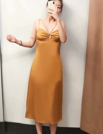 Fashion Turmeric Thin Shoulder Strap Backless Dress