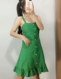 Fashion Green Single-breasted Sling Backless Dress