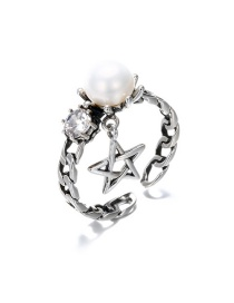 Fashion Silver 925 Silver Pearl Refers To The Five-pointed Star Open Ring