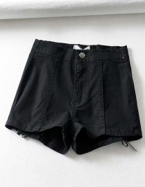 Fashion Black Washed Back Strap Denim Shorts