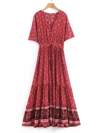 Fashion Red Fringed Print Dress