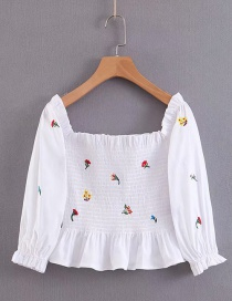 Fashion White One-shoulder Elasticated Embroidered Waist Lantern Sleeve Printed Shirt