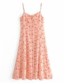 Fashion Pink Floral Print Sling Single-breasted Halter Dress