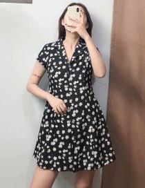 Fashion Black Daisy Print V-neck Single Breasted Dress