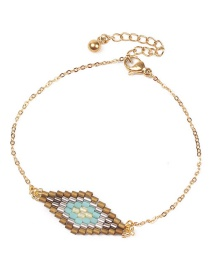 Fashion Blue Rice Beads Woven Stainless Steel Gold-plated Chain Bracelet