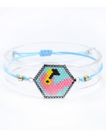 Fashion Blue Rice Beads Woven Flamingo Bracelet