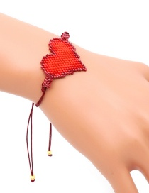 Fashion Red Beizhu Weaving Love Bracelet