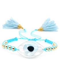 Fashion Blue Big Eye Braided 4mm Gold Beaded Tassel Bracelet