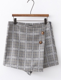 Fashion Gray Plaid Printed Irregular Short Skirt