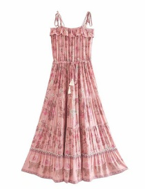 Fashion Pink Men's Cotton Printed Tassel Strapless Halter Dress