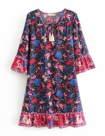 Fashion Dark Blue Phoenix Bird Print V-neck Flare Sleeve Dress