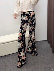 Fashion Black Flower Print Straight Pants