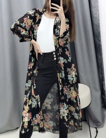 Fashion Black Flower Print Shirt Dress