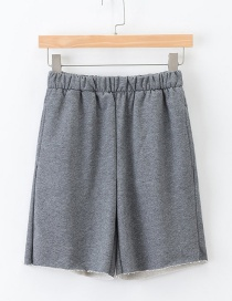 Fashion Dark Gray Elastic Waist And Five-pants