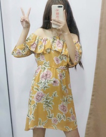 Fashion Yellow Hanging Neck Collar Flower Print Dress