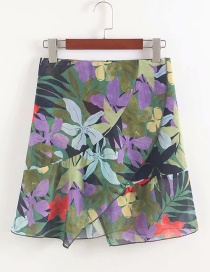 Fashion Green Flower Print Skirt