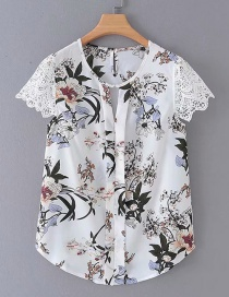 Fashion White Printed Lace Sleeve Stitching Shirt